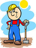 worker with spade cartoon illustration