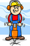 worker with pneumatic hammer cartoon