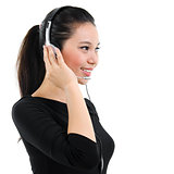 Telemarketing headset woman portrait