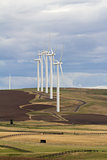 Wind Turbines in Goldendale Washington Farmland