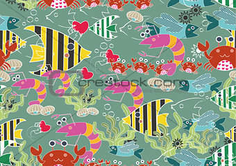 Seamless Cartoon Animal Background Pattern - Ocean Fun