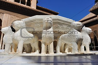 fountain in the Courtyard of the Lions - Alhambra - Spain