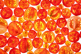 Abstract Background of Different Tomato Slices