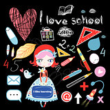 schoolgirl and various school sites