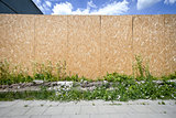 Empty chipboard fence