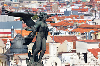 Aerial view of Madrid (Spain) / Famous Statue  and roofs