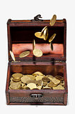 Coins in the air and in a box