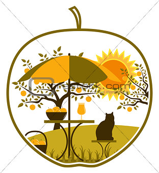 apple harvest scene in apple