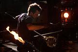 Glass Worker Near Blast Furnace