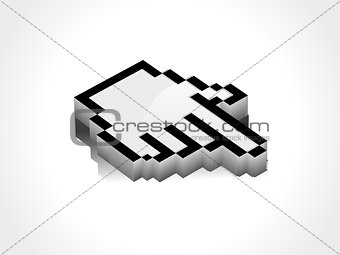 abstract 3d glossy hand cursor