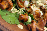 Roasted Chanterelles with  Cheese Sauce