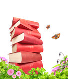 Books, flowers and butterflys