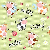 Vector seamless background with cute cows