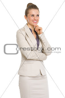 Portrait of thoughtful business woman looking on copy space