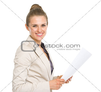 Portrait of happy business woman with document