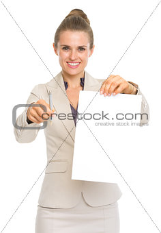Smiling business woman giving documents and pen for sign