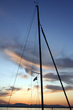 Sailboat mast at sunset