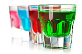 various colorful liquors
