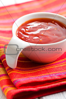barbecue sauce in ceramic bowl