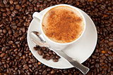 Fresh cup of coffee with cinnamon sprinkled on top