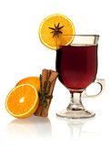 Hot mulled wine with oranges and cinnamon