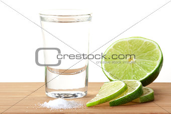 Blanc Tequila with lime and salt