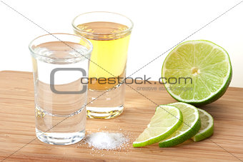 Blanc and Gold Tequila with lime and salt
