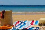 towel and sunbathing accessories on  bech