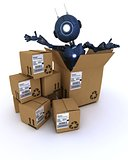 android with shipping boxes
