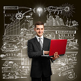 Idea Concept male in suit with laptop in his hands