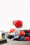 srawberry on a fork isolated