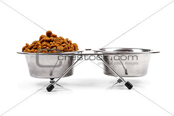 pet food bowl isolated on white background