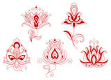 Set of abstract flowers in persian and indian motifs style