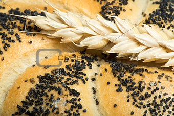 Close up Bread and wheat cereal crops