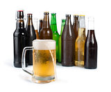 Bottles of beer and beer mug.