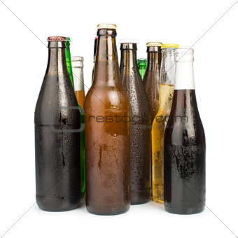Group of Beer bottles isolated studio shot