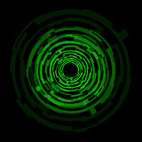 Abstract technology green circles background