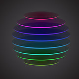 Colourful sliced sphere on dark background