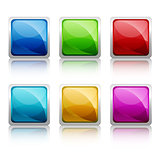 Set of colourful square glass botton