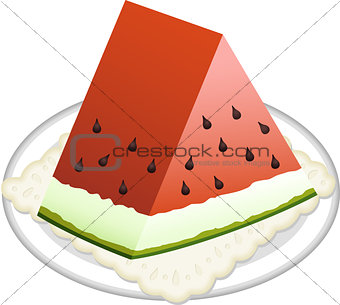 Watermelon slice on dish