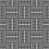 Checked pattern with square and striped elements. Seamless geome