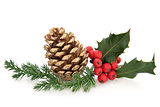 Holly and Pine Cone Decoration