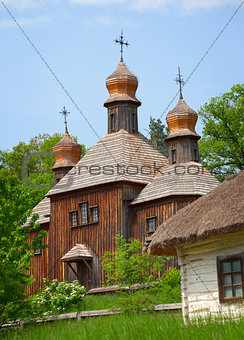 Old wooden Church. Ukraine Pirogovo