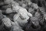 Stone miniature figurines of monkeys