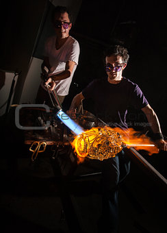 Men Forming Glass Art