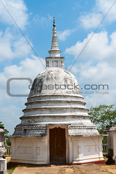 Small white stupa temple, Sri Lanka