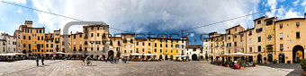 Amphitheater square in Lucca in Tuscany, Italy