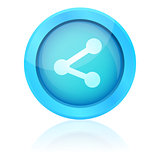 Blue share icon with reflection