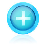 Blue plus icon with reflection