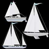 Set sailing boat floating. Vector illustration.